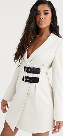4th & Reckless buckle detail blazer dress in cream