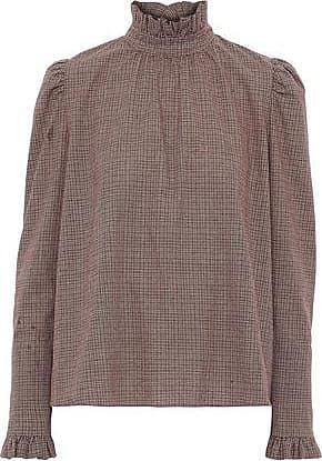 GOEN.J Goen.j Woman Ruffle-trimmed Checked Cotton Blouse Brown Size M