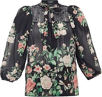 Giambattista Valli Neck-tie Floral-print Silk-georgette Blouse - Womens - Black Multi