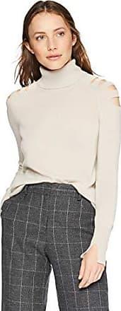 Halston Heritage Womens Long Sleeve Turtleneck Stitch Detail Sweater