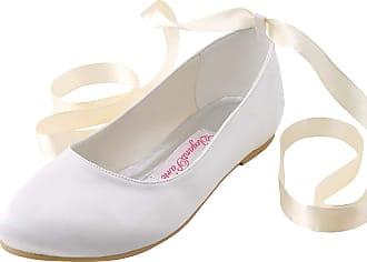 Elegantpark EP11105 Wedding Flat Shoes Women Bridal Shoes Flats Round Toe Ribbon Tie Satin Wedding Bride Shoes Ivory UK 10(EU 43)