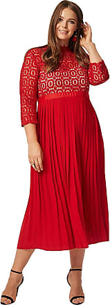 Little Mistress Curvy Alice Red 3/4 Sleeve Crochet Top Midaxi Dress with Pleated Skirt 20 UK Tomato