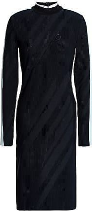 58031db52f78 Versace Versace Collection Woman Striped Ribbed-knit Dress Navy Size 40