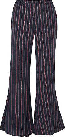 2291868f79a378 Mes Demoiselles... Emmanuel Lyrical Metallic Striped Cotton-blend Flared  Pants - Midnight