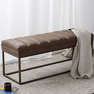 New Pacific Direct 3900030-NCE Darius PU Leather Bench Ottomans & Cubes, Nubuck Chocolate