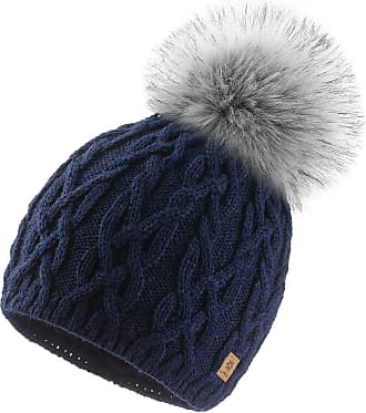 4sold Ladies Chunky Soft Cable Knit Handmade Woman Hat Cosy Fleece Liner and Bobble Faux Fur Pom pom (Debora Navy)