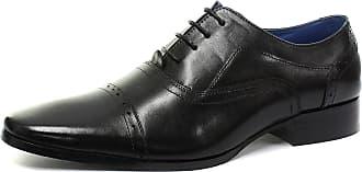 Roamers Mens Black Leather Pleat Cap Oxford Smart Shoes - Black Leather, Mens UK 9/EU 43