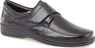 Roamers Mens Black Super Soft Leather Lightweight Fulfit Touch Fastening Casual Shoe - Black - size UK Mens Size 10