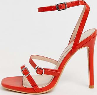 Missguided Filigrane Sandalen in rot mit Absatz, drei Riemen und Schnalle
