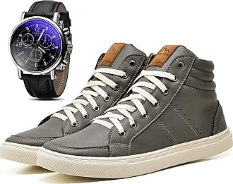 Juilli Kit Sapatênis Sapato Casual Com Relógio Masculino JUILLI 1610DB Tamanho:41;cor:Cinza;gênero:Masculino