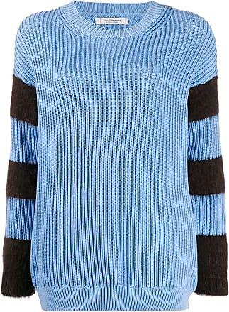 Chinti and Parker Suéter de tricô canelado com listras - Azul