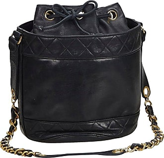 eb32cde11ecf Chanel Black Lambskin Leather Leather Matelasse Bucket Bag France W  Pouch