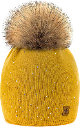 morefaz Set Scarf & Hat Women Winter Beanie Hat Knitted Hats Band Style Fleece Lining Pom Pom (Mustard Verona)