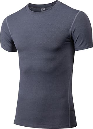 YiJee Mens Compression Quick Dry Elastic Athletic Short Sleeve T Shirt Gray M
