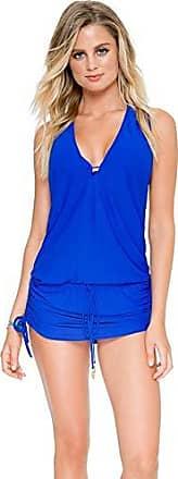 Luli Fama Womens Cosita Buena T-Back Mini Dress Cover Up, Electric Blue, L
