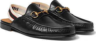 2cbdc4fef Gucci Webbing-trimmed Leather Backless Loafers - Black