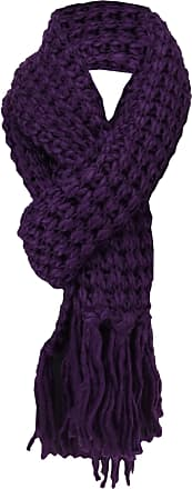 TigerTie knitted scarf purple darkpurple monochrome with long fringes - scarf gr. 220 x 30 cm