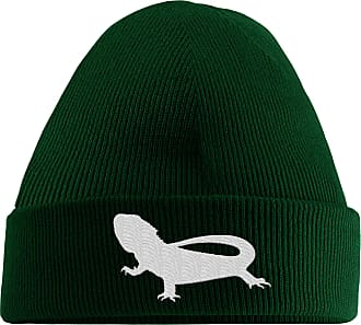 HippoWarehouse Bearded Dragon Embroidered Beanie Hat Bottle Green