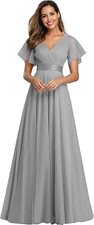 Ever-pretty Womens V Neck Short Sleeve A Line Empire Long Tulle Ball Evening Dresses Grey 14UK