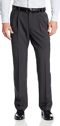 Van Heusen Mens Big and Tall Stretch Traveler Cuffed Crosshatch Pleated Pant - Gray - 48W x 29L