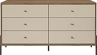 Manhattan Comfort 350594 Joy Series 2 Tone 6 Drawer Bedroom Dresser, Off- Off-White