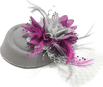Caprilite Silver Grey and Fuchsia Hot Pink Pillbox Fascinator Hat for Women Weddings Bird Cage Veil Clip