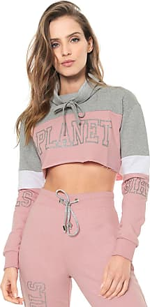 Planet Girls Moletom Fechado Cropped Planet Girls Lettering Rosa/Cinza