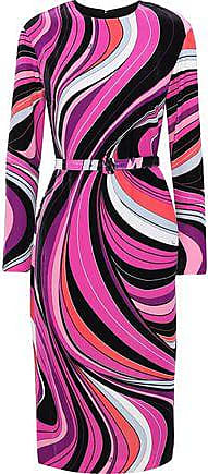 Emilio Pucci Emilio Pucci Woman Belted Printed Velvet Dress Fuchsia Size 40
