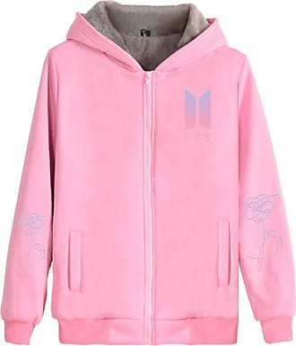 EmilyLe Ladies Thicken Hoodies with Zipper Kpop BTS New Album Jacket Suga V (XL, Pink)