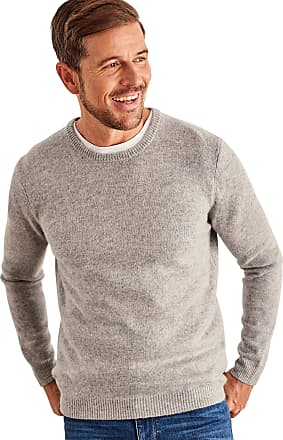 WoolOvers Mens Lambswool Crew Neck Jumper Grey Marl, XL
