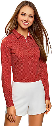 oodji Womens Basic Shirt with Chest Pockets, Red, UK 8 / EU 38 / S
