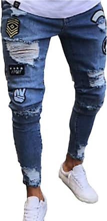 junkai Mens Hiphop Streetwear Jeans Ripped Stretch Zipper Trousers Distressed Holes Denim Blue 3XL