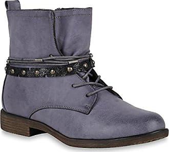 0484772e3479d3 Stiefelparadies Damen Schuhe Schnürstiefeletten Leicht Gefütterte  Stiefeletten Metallic 147547 Blau Grau Autol 38 Flandell