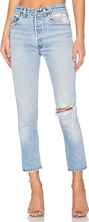 Re/Done Levis High Rise Ankle Crop in Blue