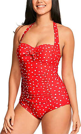 Figleaves Womens Sorrento Spot Wired Swimsuit Size 34E in Red/White Spot