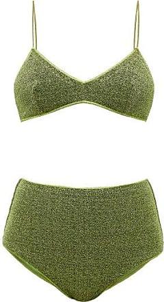 Oséree Lumiere High-rise Metallic Bikini - Womens - Green