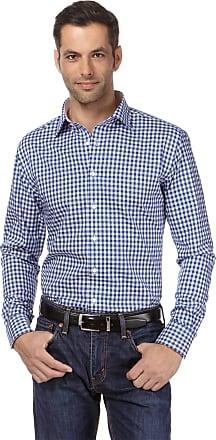 Vincenzo Boretti Mens Shirt Regular-fit Kent Collar Classic Design Check Pattern 100% Cotton Non-Iron Long-Sleeve Designer Shirts for Men Formal Office Wedding Ideal w