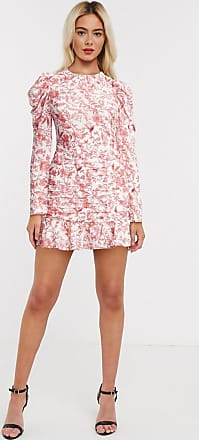 In The Style x Lorna Luxe open back frilly skater dress in pink floral print-Multi