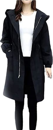 VITryst Womens Windbreaker Jacket Zipped Long Sleeve Outdoor Coat Anorak Outwear,Black,XX-Large