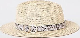 River Island Womens Beige snake print trim straw hat