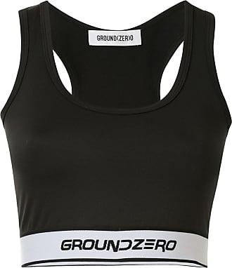 Ground-Zero Blusa cropped com estampa de logo - Preto