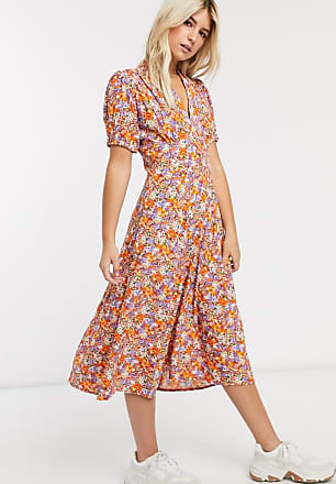 Faithfull The Brand Faithfull meadows floral print short sleeve midi dress-Orange