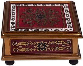 Novica Reverse painted glass box, Colonial Crimson