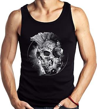 Dragon Store Camiseta Regata Caveira Punk Fone Banda Moto Rock Sem Manga