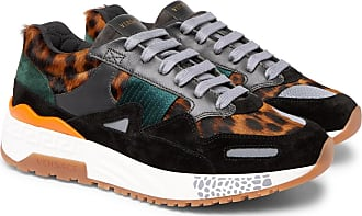 Versace Achilles Panelled Leopard-print Calf Hair Sneakers - Multi