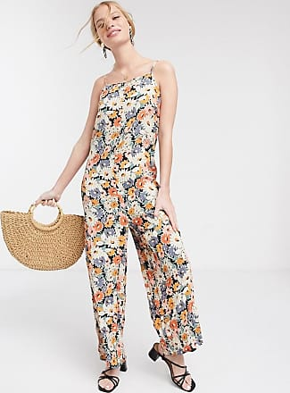 Warehouse daisy floral print whide leg jumpsuit in multi