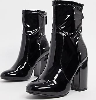 New Look patent PU heeled sock boots in black