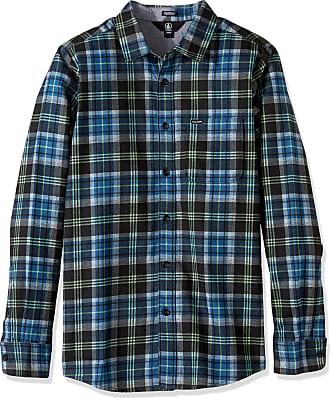 Volcom Mens Hayden Flannel Check Shirt Flanell Hemd Holzfällerhemd Herren Kariert Blau Button, Smokey Blue, Medium