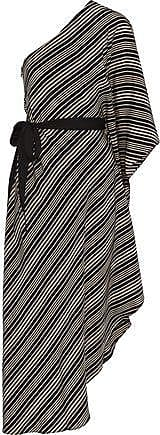 Halston Heritage Halston Heritage Woman One-shoulder Striped Silk Crepe De Chine Midi Dress Black Size XS