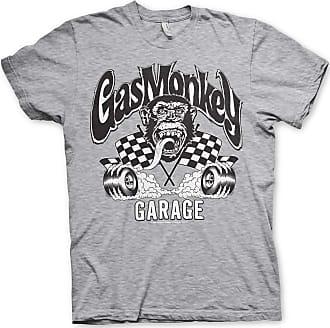 Gas Monkey Garage Officially Licensed Burning Wheels Mens T-Shirt (Heather-Grey), Large